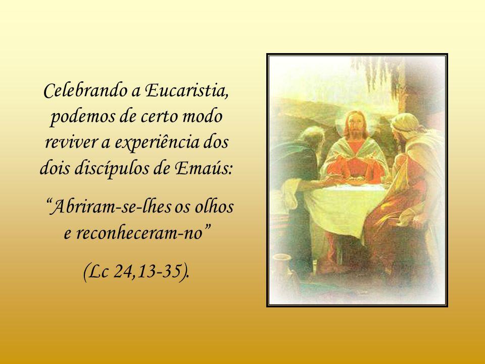 Celebrando a Eucaristia, podemos de certo modo reviver a experiência dos dois discípulos de Emaús: Abriram-se-lhes os olhos e reconheceram-no (Lc 24,13-35).