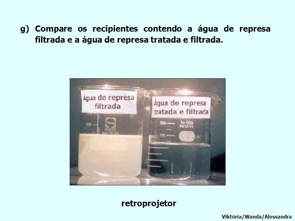 g)Compare os recipientes contendo a água de represa filtrada e a água de represa tratada e filtrada. Viktória/Wanda/Alessandra retroprojetor