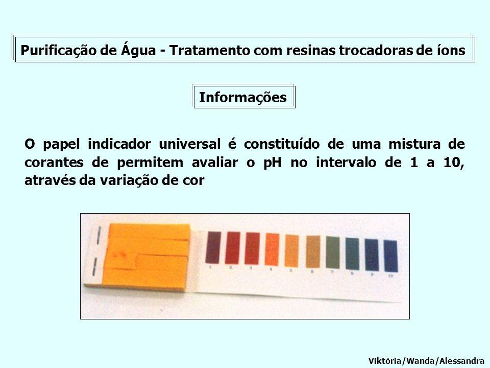 Purificação de Água - Tratamento com resinas trocadoras de íons Informações O papel indicador universal é constituído de uma mistura de corantes de pe