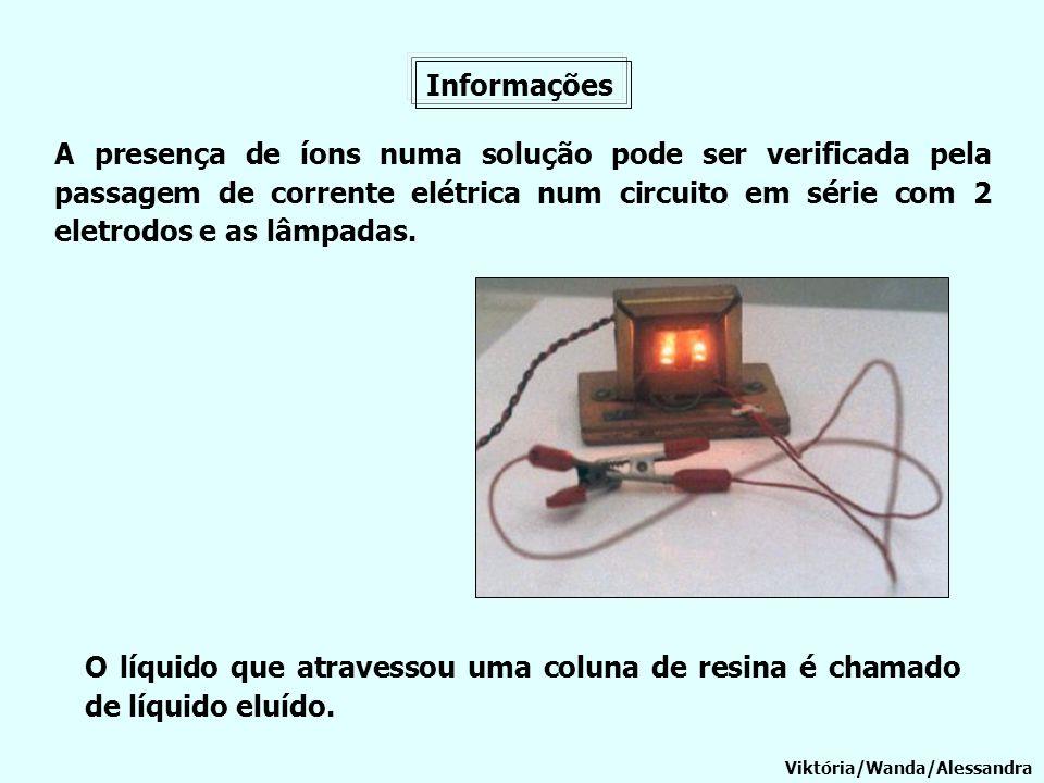 Informações A presença de íons numa solução pode ser verificada pela passagem de corrente elétrica num circuito em série com 2 eletrodos e as lâmpadas
