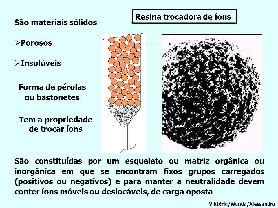 Resina trocadora de íons Viktória/Wanda/Alessandra São materiais sólidos Porosos Insolúveis Forma de pérolas ou bastonetes Tem a propriedade de trocar