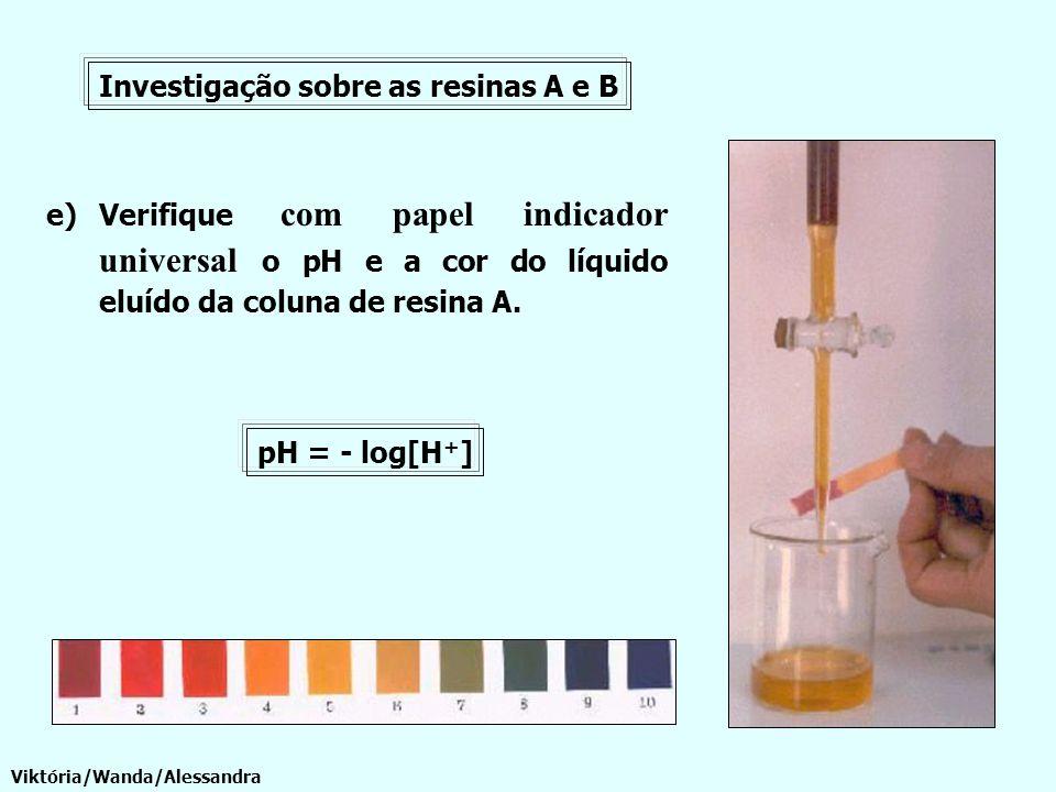 e)Verifique com papel indicador universal o pH e a cor do líquido eluído da coluna de resina A. Investigação sobre as resinas A e B Viktória/Wanda/Ale
