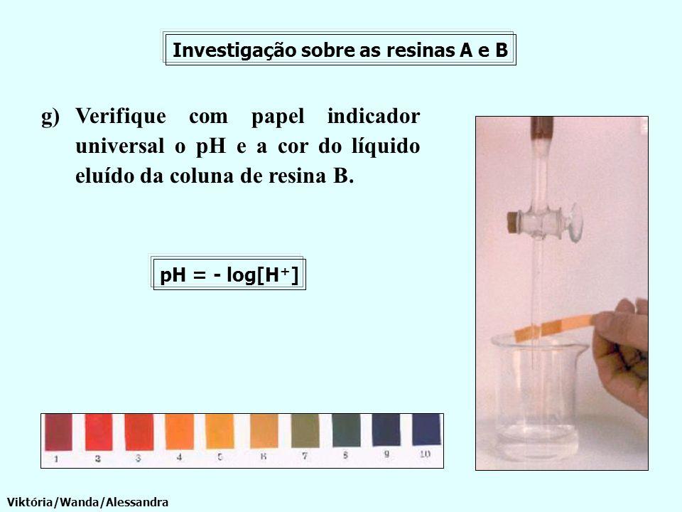 g)Verifique com papel indicador universal o pH e a cor do líquido eluído da coluna de resina B. Investigação sobre as resinas A e B pH = - log[H + ] V