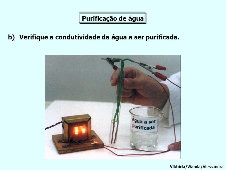Purificação de água b)Verifique a condutividade da água a ser purificada. Viktória/Wanda/Alessandra