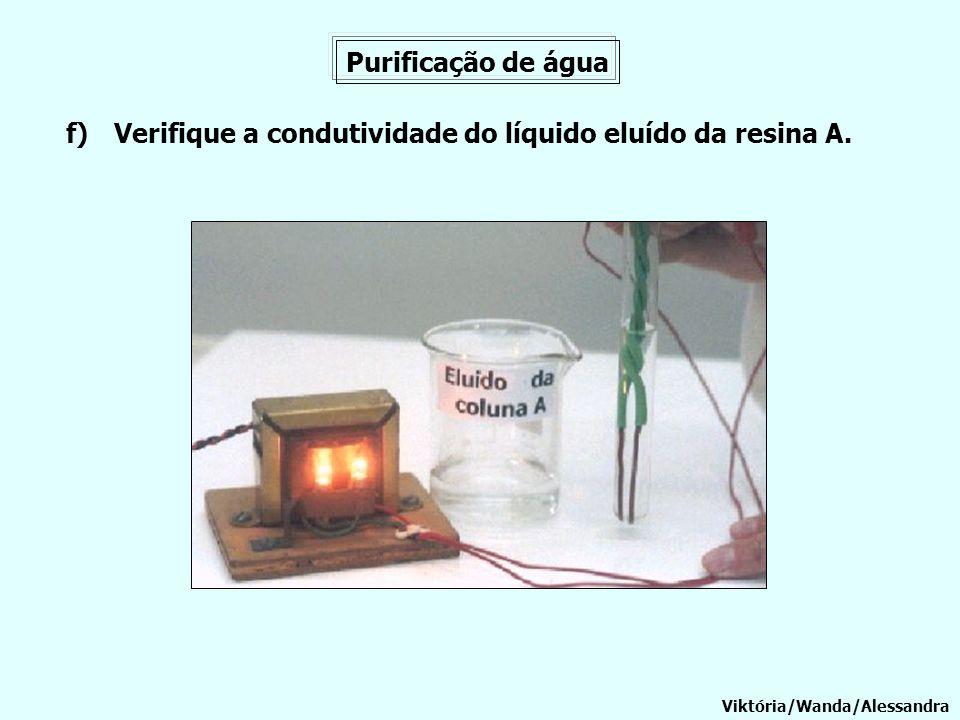 Purificação de água Viktória/Wanda/Alessandra f)Verifique a condutividade do líquido eluído da resina A.