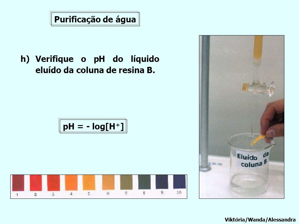 Viktória/Wanda/Alessandra Purificação de água Viktória/Wanda/Alessandra h)Verifique o pH do líquido eluído da coluna de resina B. pH = - log[H + ]