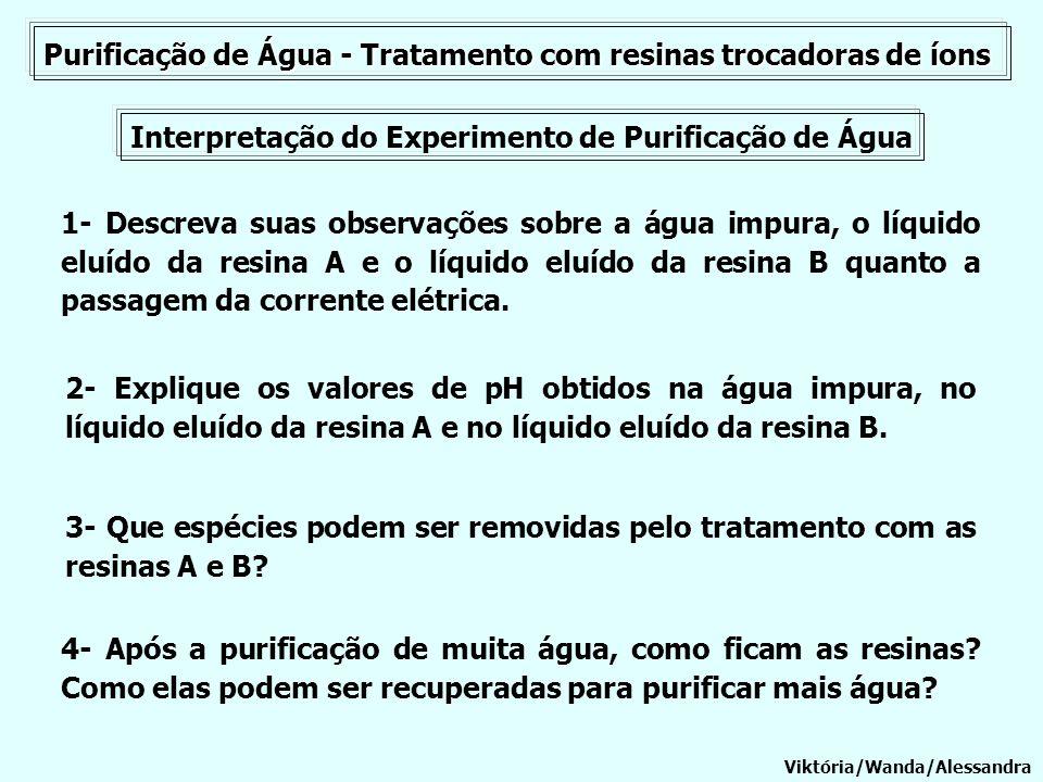 Purificação de Água - Tratamento com resinas trocadoras de íons Interpretação do Experimento de Purificação de Água 1- Descreva suas observações sobre