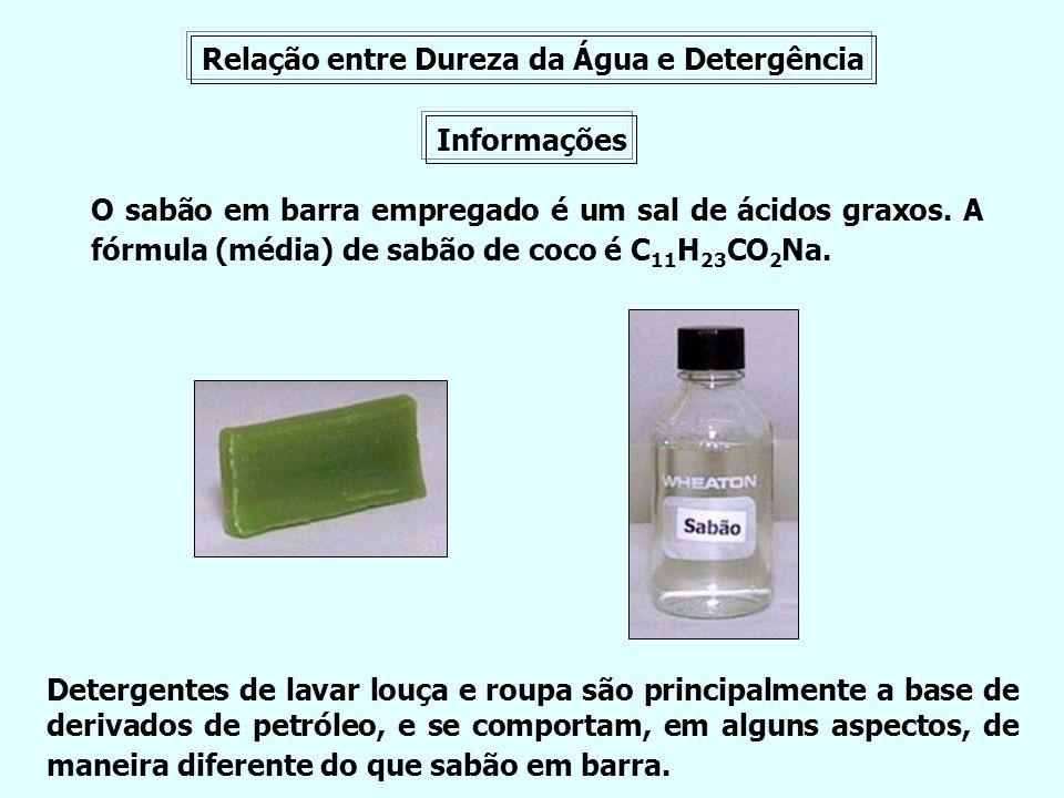 Relação entre Dureza da Água e Detergência Informações O sabão em barra empregado é um sal de ácidos graxos. A fórmula (média) de sabão de coco é C 11
