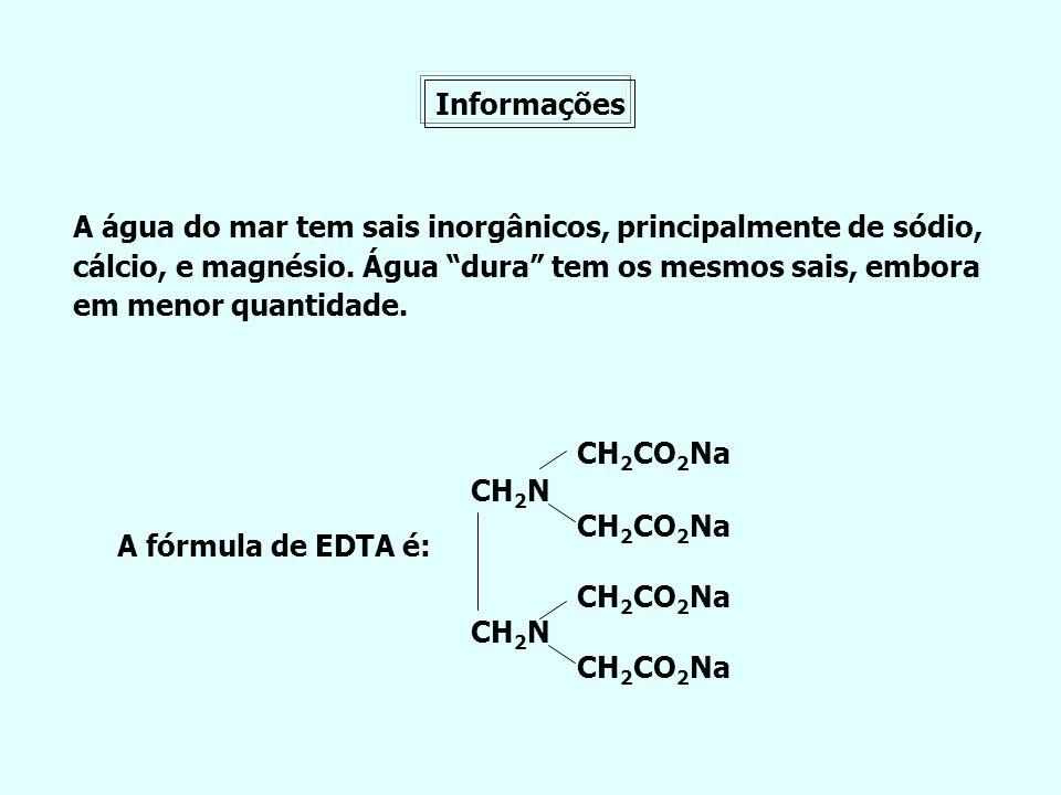 Informações A água do mar tem sais inorgânicos, principalmente de sódio, cálcio, e magnésio. Água dura tem os mesmos sais, embora em menor quantidade.