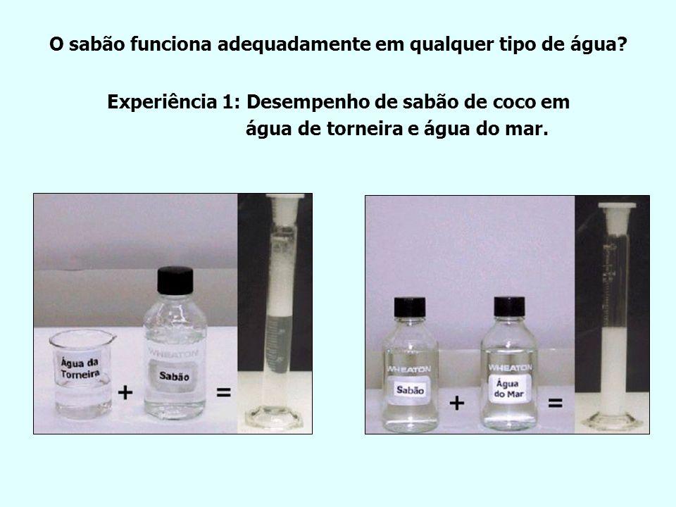 O sabão funciona adequadamente em qualquer tipo de água? Experiência 1: Desempenho de sabão de coco em água de torneira e água do mar. +=