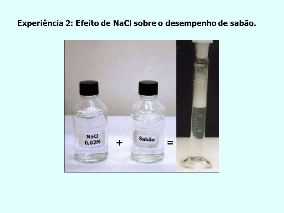 Experiência 2: Efeito de NaCl sobre o desempenho de sabão.