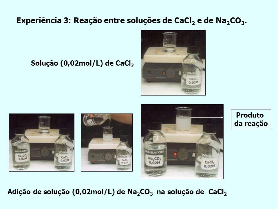 Experiência 3: Reação entre soluções de CaCl 2 e de Na 2 CO 3. Adição de solução (0,02mol/L) de Na 2 CO 3 na solução de CaCl 2 Solução (0,02mol/L) de