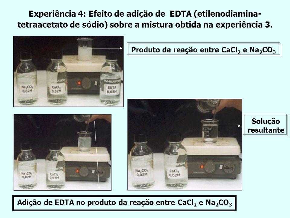 Experiência 4: Efeito de adição de EDTA (etilenodiamina- tetraacetato de sódio) sobre a mistura obtida na experiência 3. Adição de EDTA no produto da