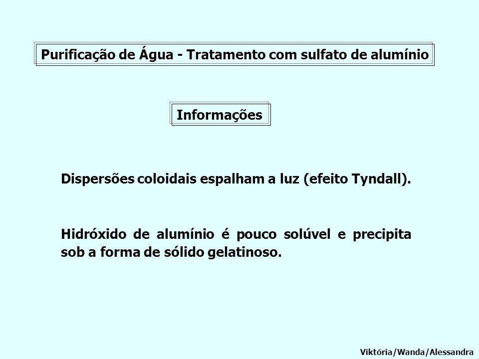 Purificação de Água - Tratamento com sulfato de alumínio Informações Viktória/Wanda/Alessandra Dispersões coloidais espalham a luz (efeito Tyndall). H