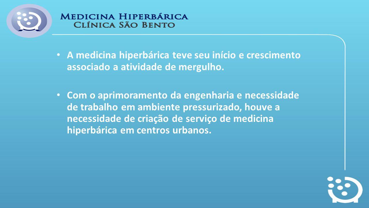 A medicina hiperbárica teve seu início e crescimento associado a atividade de mergulho. Com o aprimoramento da engenharia e necessidade de trabalho em