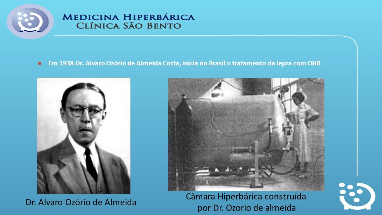Em 1938 Dr. Alvaro Ozório de Almeida Costa, inicia no Brasil o tratamento da lepra com OHB Câmara Hiperbárica construída por Dr. Ozorio de almeida Dr.