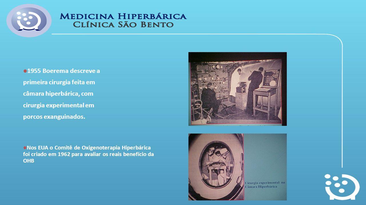 1955 Boerema descreve a primeira cirurgia feita em câmara hiperbárica, com cirurgia experimental em porcos exanguinados. Nos EUA o Comitê de Oxigenote