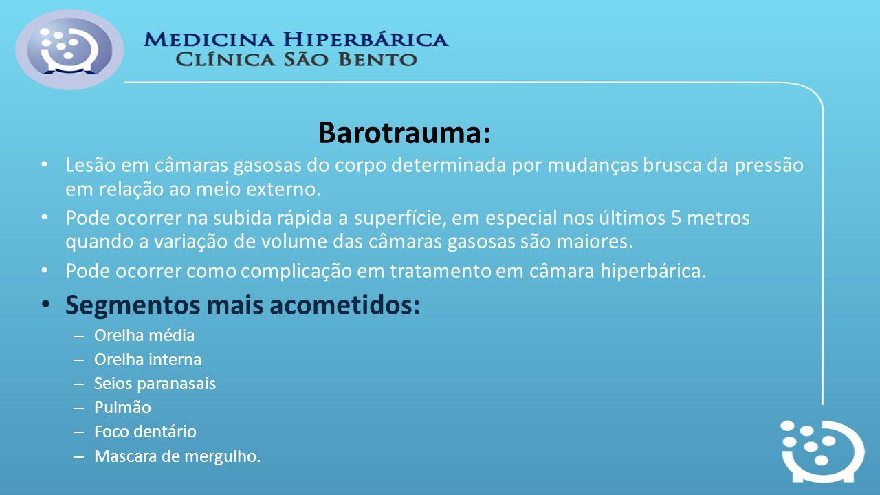 Barotrauma: Lesão em câmaras gasosas do corpo determinada por mudanças brusca da pressão em relação ao meio externo. Pode ocorrer na subida rápida a s