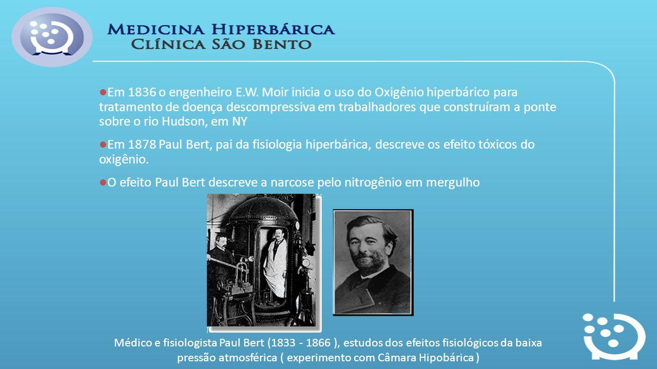 Em 1836 o engenheiro E.W. Moir inicia o uso do Oxigênio hiperbárico para tratamento de doença descompressiva em trabalhadores que construíram a ponte