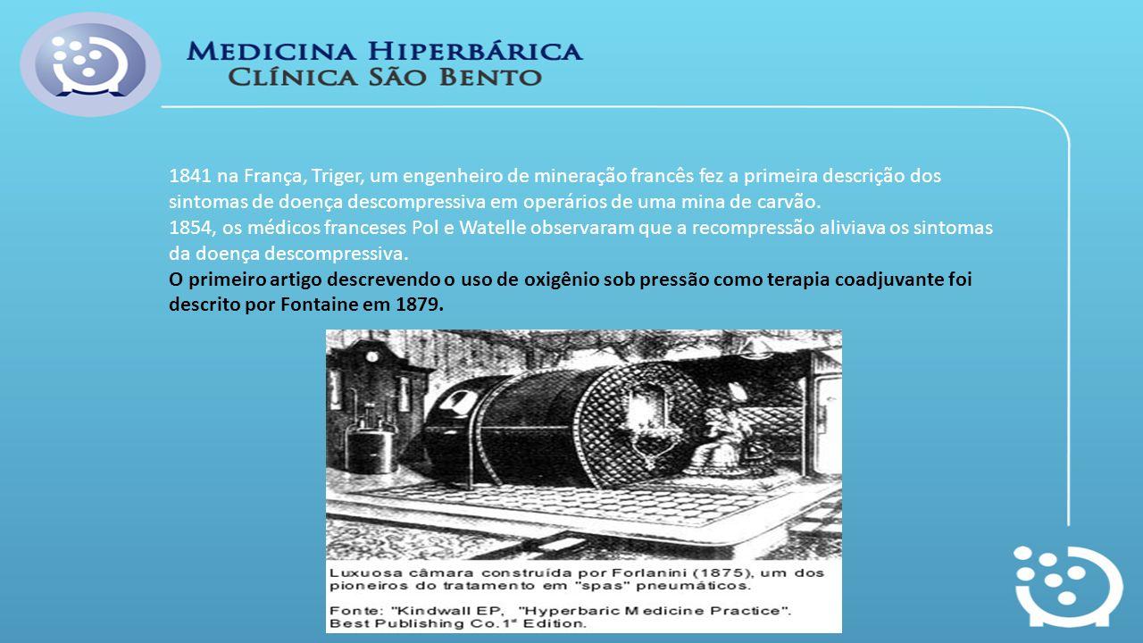 1841 na França, Triger, um engenheiro de mineração francês fez a primeira descrição dos sintomas de doença descompressiva em operários de uma mina de