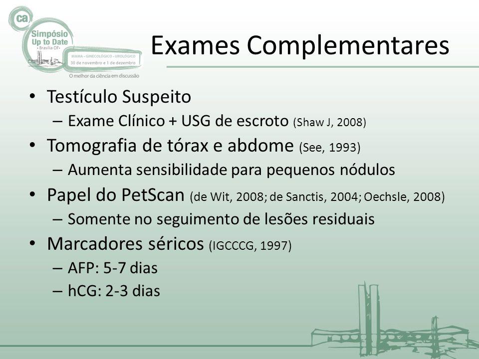 Exames Complementares Testículo Suspeito – Exame Clínico + USG de escroto (Shaw J, 2008) Tomografia de tórax e abdome (See, 1993) – Aumenta sensibilid