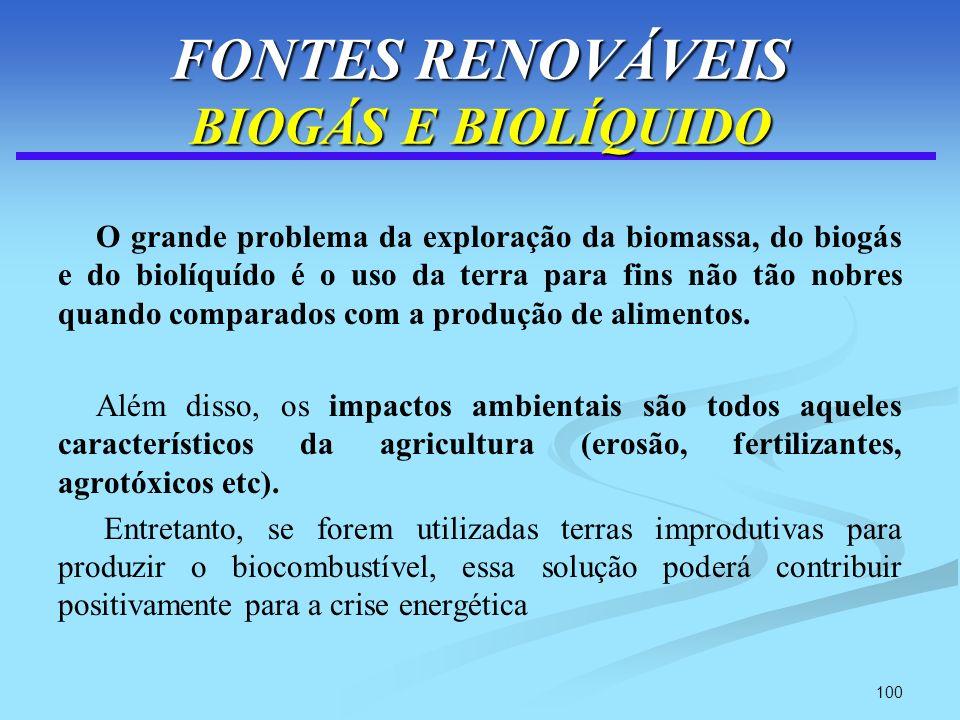 100 FONTES RENOVÁVEIS BIOGÁS E BIOLÍQUIDO O grande problema da exploração da biomassa, do biogás e do biolíquído é o uso da terra para fins não tão no