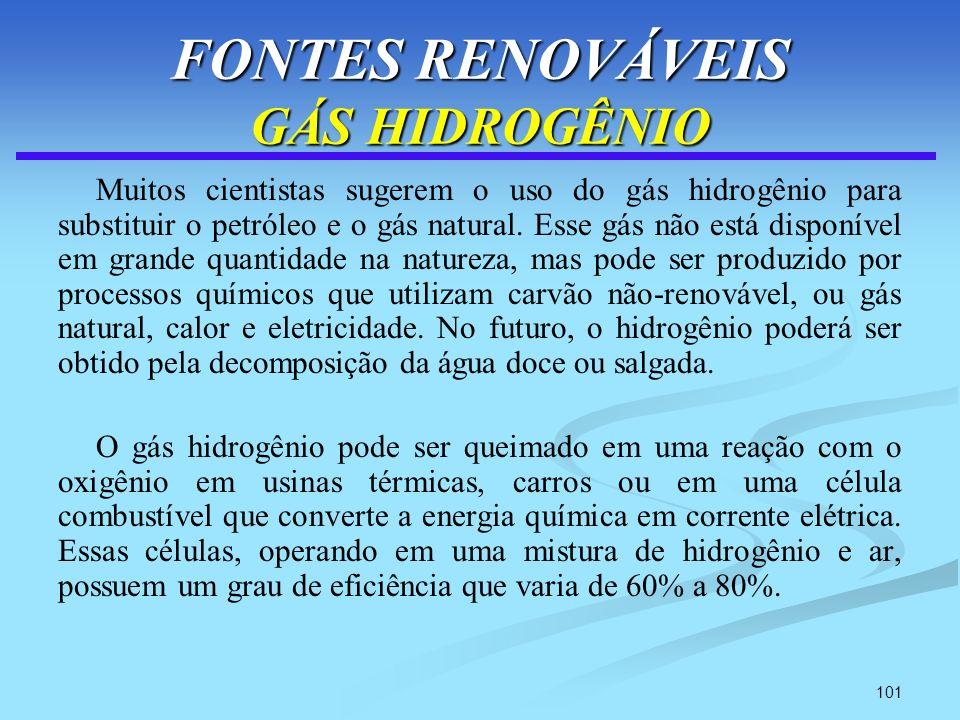 101 FONTES RENOVÁVEIS GÁS HIDROGÊNIO Muitos cientistas sugerem o uso do gás hidrogênio para substituir o petróleo e o gás natural. Esse gás não está d