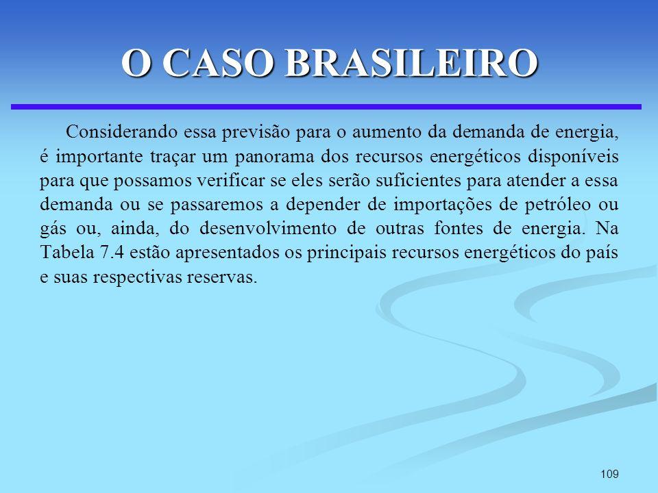 109 O CASO BRASILEIRO Considerando essa previsão para o aumento da demanda de energia, é importante traçar um panorama dos recursos energéticos dispon