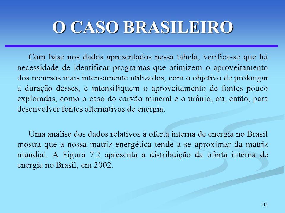 111 O CASO BRASILEIRO Com base nos dados apresentados nessa tabela, verifica-se que há necessidade de identificar programas que otimizem o aproveitame