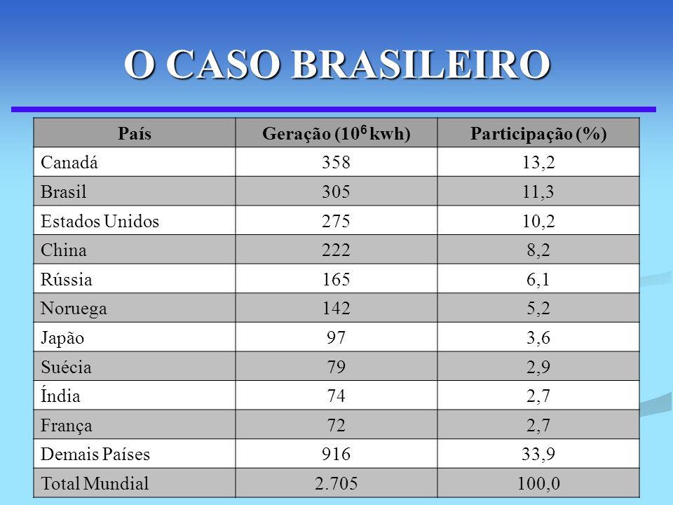 116 O CASO BRASILEIRO PaísGeração (10 6 kwh)Participação (%) Canadá35813,2 Brasil30511,3 Estados Unidos27510,2 China2228,2 Rússia1656,1 Noruega1425,2