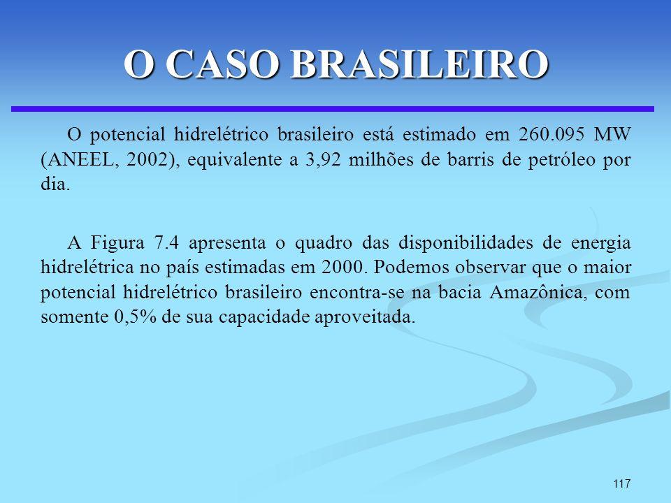 117 O CASO BRASILEIRO O potencial hidrelétrico brasileiro está estimado em 260.095 MW (ANEEL, 2002), equivalente a 3,92 milhões de barris de petróleo