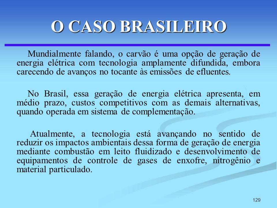 129 O CASO BRASILEIRO Mundialmente falando, o carvão é uma opção de geração de energia elétrica com tecnologia amplamente difundida, embora carecendo