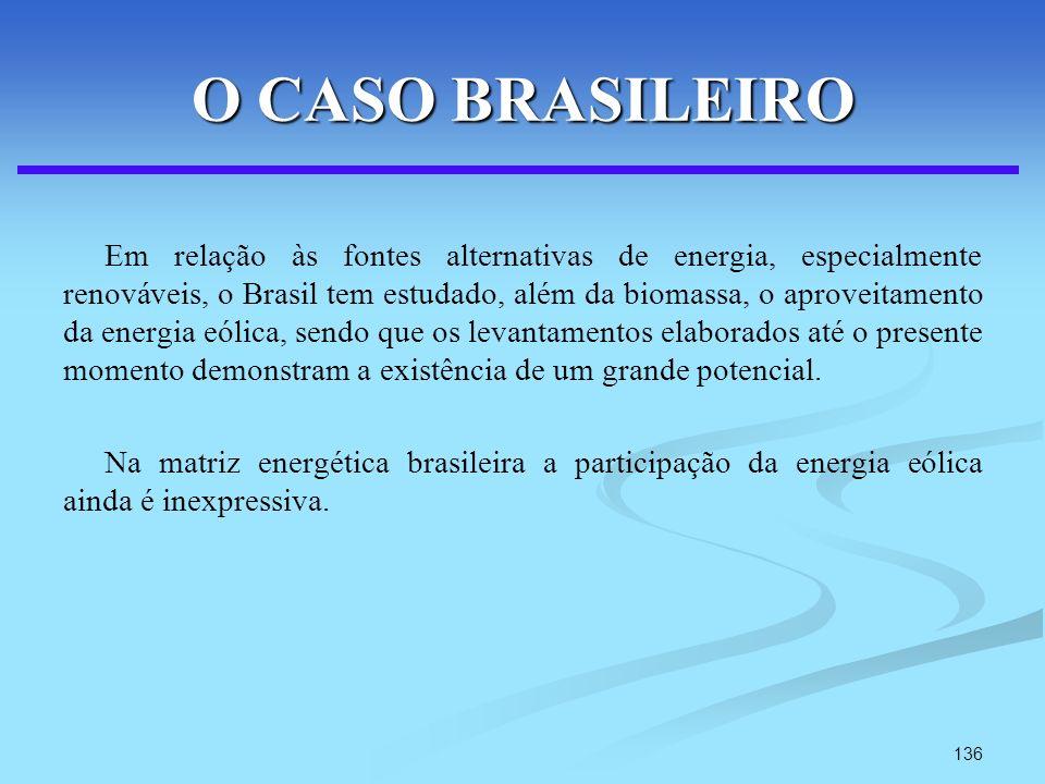136 O CASO BRASILEIRO Em relação às fontes alternativas de energia, especialmente renováveis, o Brasil tem estudado, além da biomassa, o aproveitament