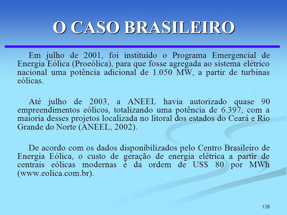 138 O CASO BRASILEIRO Em julho de 2001, foi instituído o Programa Emergencial de Energia Eólica (Proeólica), para que fosse agregada ao sistema elétri