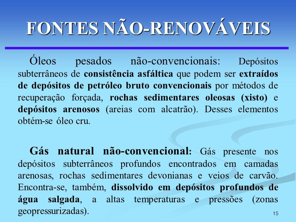 15 FONTES NÃO-RENOVÁVEIS Óleos pesados não-convencionais: Depósitos subterrâneos de consistência asfáltica que podem ser extraídos de depósitos de pet
