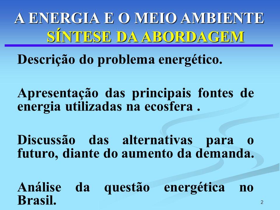 2 Descrição do problema energético. Apresentação das principais fontes de energia utilizadas na ecosfera. Discussão das alternativas para o futuro, di