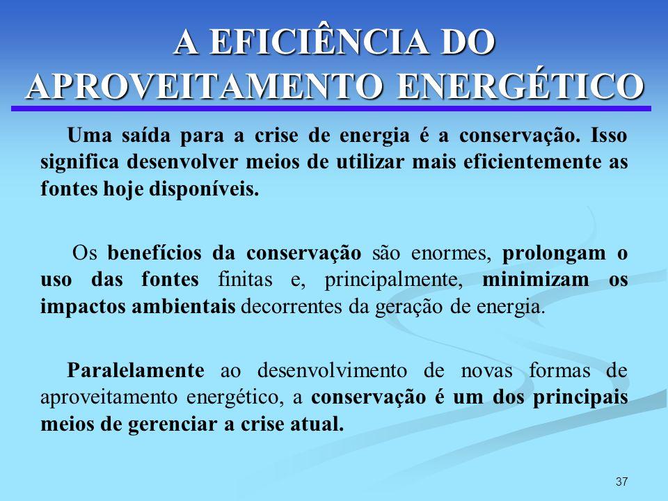 37 A EFICIÊNCIA DO APROVEITAMENTO ENERGÉTICO Uma saída para a crise de energia é a conservação. Isso significa desenvolver meios de utilizar mais efic
