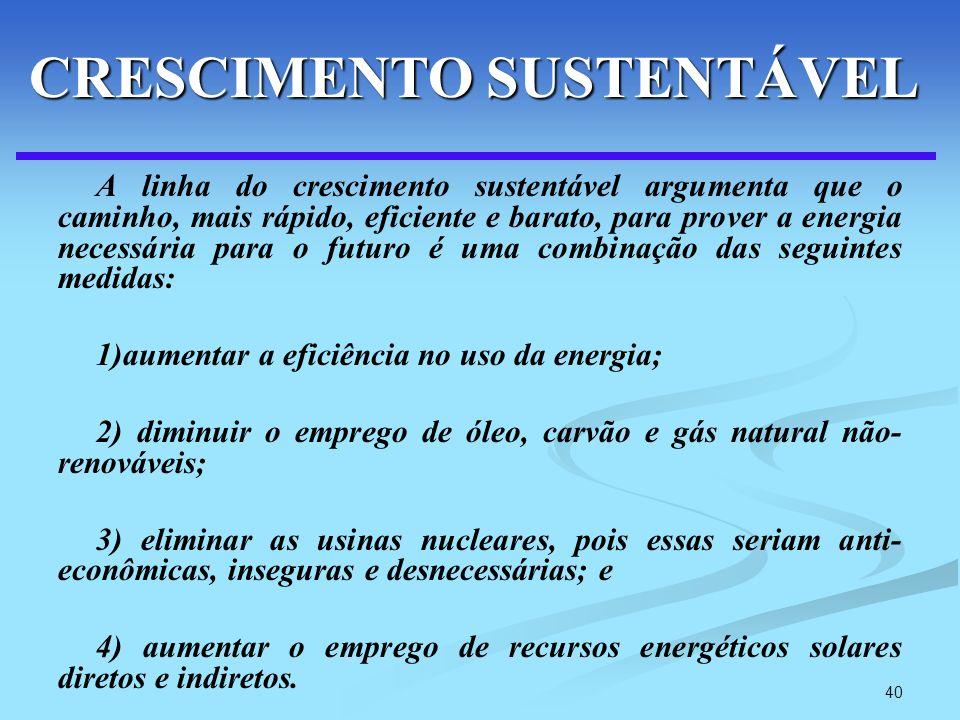 40 A linha do crescimento sustentável argumenta que o caminho, mais rápido, eficiente e barato, para prover a energia necessária para o futuro é uma c