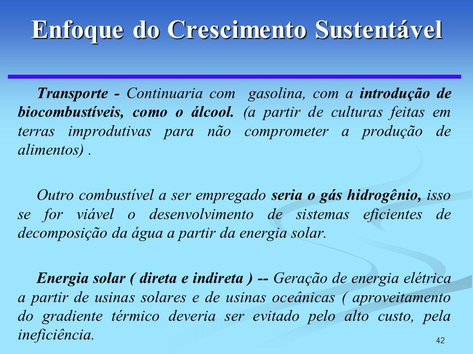42 Enfoque do Crescimento Sustentável Transporte - Continuaria com gasolina, com a introdução de biocombustíveis, como o álcool. (a partir de culturas