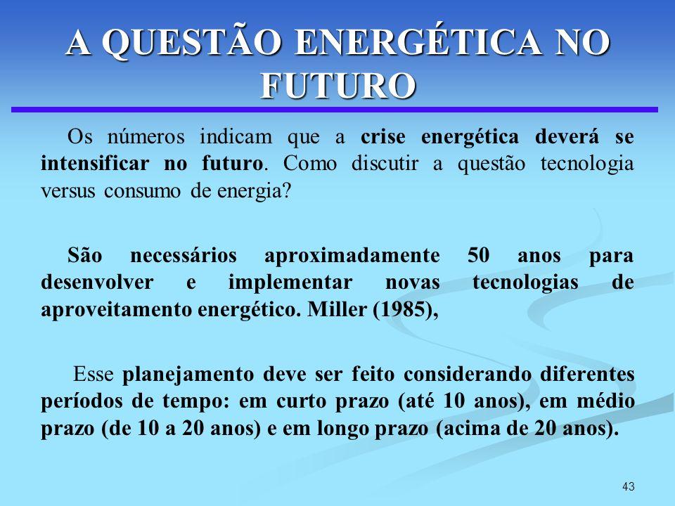 43 A QUESTÃO ENERGÉTICA NO FUTURO Os números indicam que a crise energética deverá se intensificar no futuro. Como discutir a questão tecnologia versu