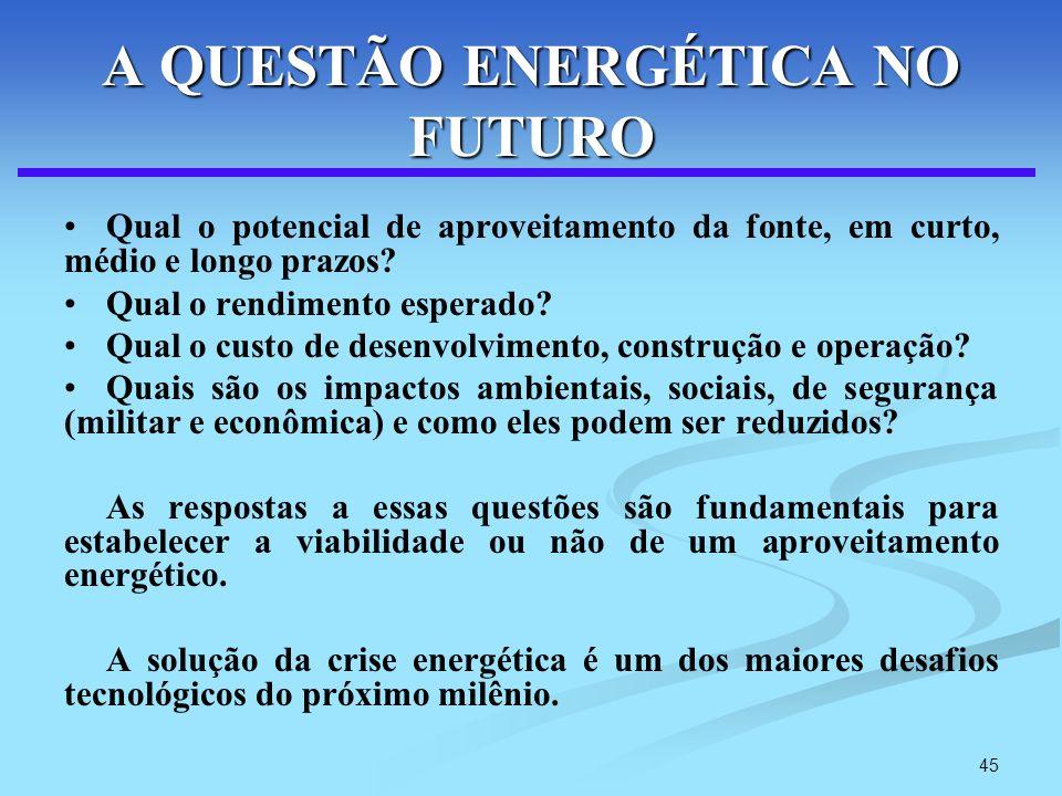45 A QUESTÃO ENERGÉTICA NO FUTURO Qual o potencial de aproveitamento da fonte, em curto, médio e longo prazos? Qual o rendimento esperado? Qual o cust