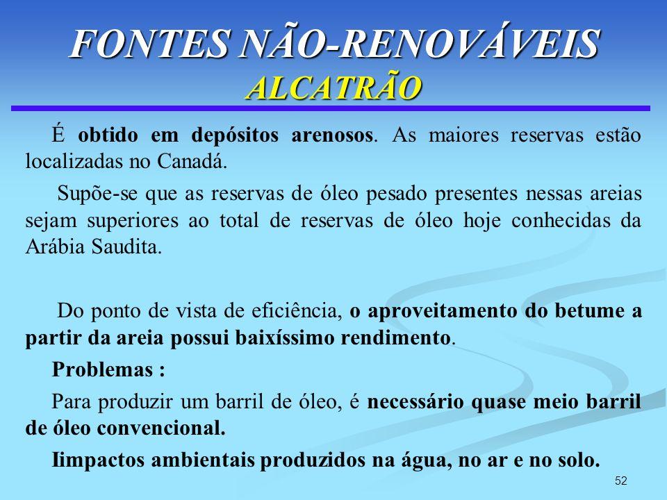 52 FONTES NÃO-RENOVÁVEIS ALCATRÃO É obtido em depósitos arenosos. As maiores reservas estão localizadas no Canadá. Supõe-se que as reservas de óleo pe