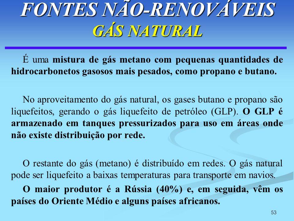 53 FONTES NÃO-RENOVÁVEIS GÁS NATURAL É uma mistura de gás metano com pequenas quantidades de hidrocarbonetos gasosos mais pesados, como propano e buta