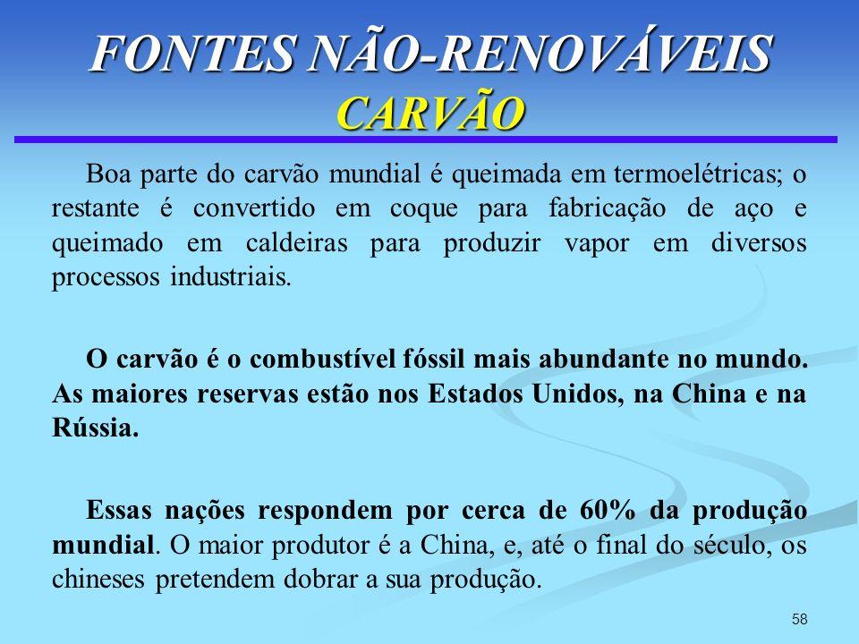 58 FONTES NÃO-RENOVÁVEIS CARVÃO Boa parte do carvão mundial é queimada em termoelétricas; o restante é convertido em coque para fabricação de aço e qu