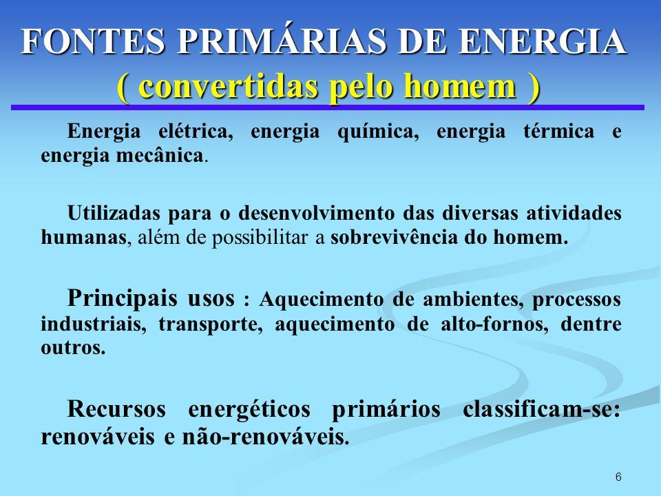 6 FONTES PRIMÁRIAS DE ENERGIA ( convertidas pelo homem ) FONTES PRIMÁRIAS DE ENERGIA ( convertidas pelo homem ) Energia elétrica, energia química, ene