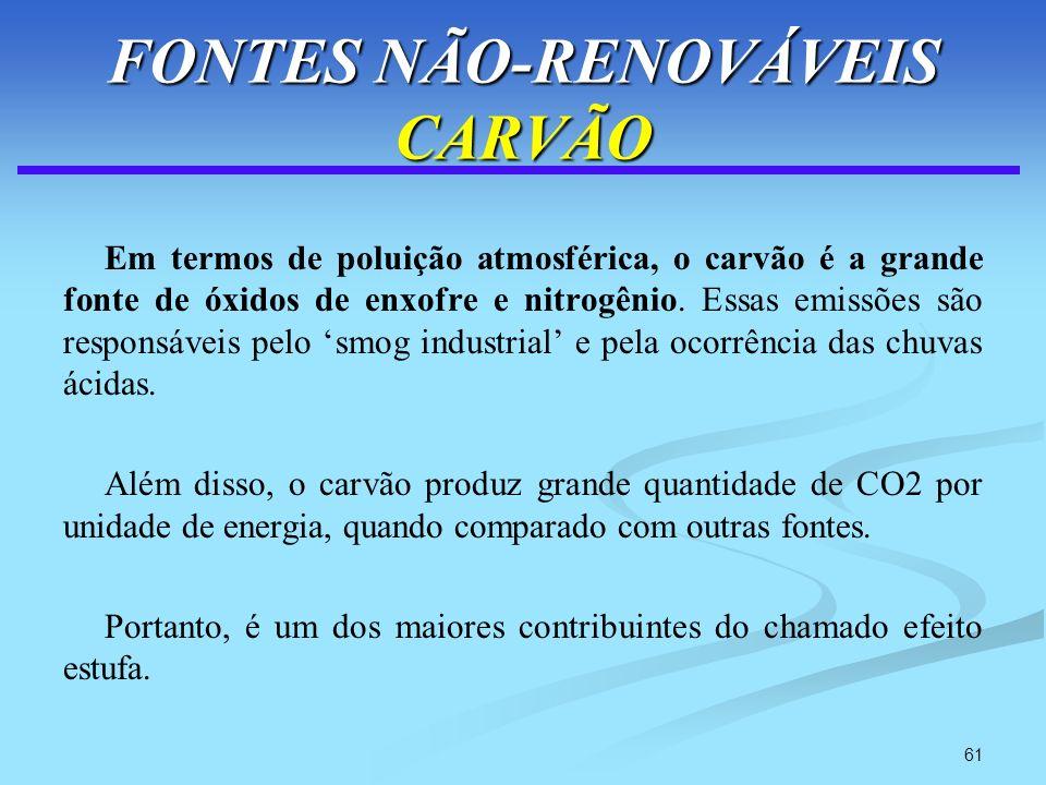 61 FONTES NÃO-RENOVÁVEIS CARVÃO Em termos de poluição atmosférica, o carvão é a grande fonte de óxidos de enxofre e nitrogênio. Essas emissões são res