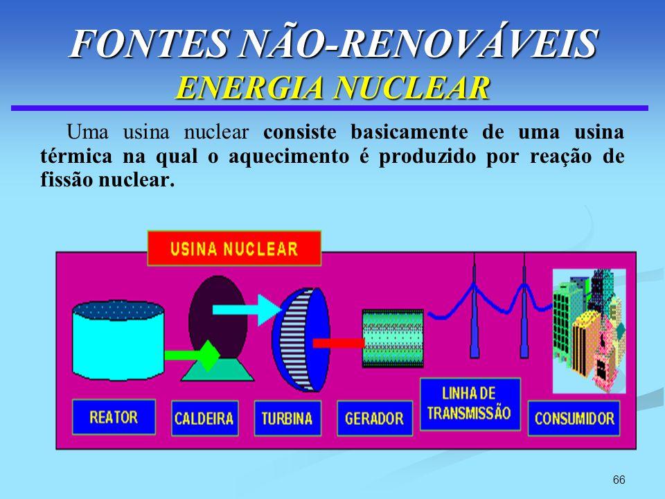 66 FONTES NÃO-RENOVÁVEIS ENERGIA NUCLEAR Uma usina nuclear consiste basicamente de uma usina térmica na qual o aquecimento é produzido por reação de f
