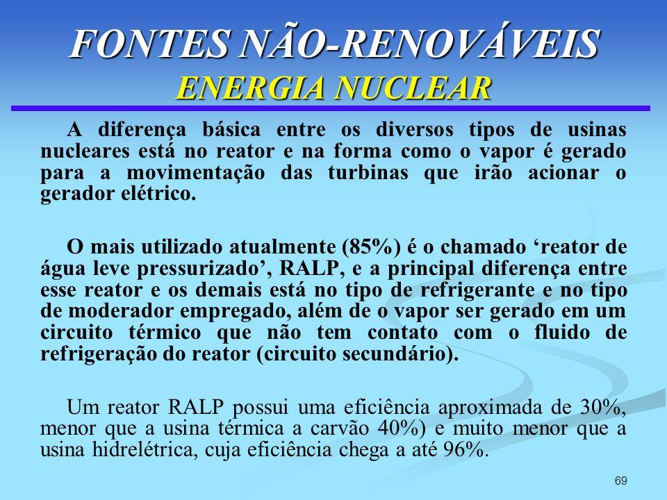 69 FONTES NÃO-RENOVÁVEIS ENERGIA NUCLEAR A diferença básica entre os diversos tipos de usinas nucleares está no reator e na forma como o vapor é gerad
