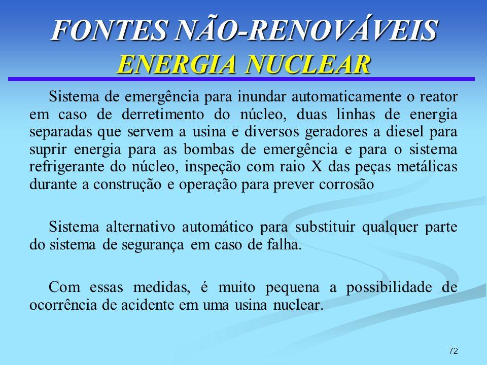 72 FONTES NÃO-RENOVÁVEIS ENERGIA NUCLEAR Sistema de emergência para inundar automaticamente o reator em caso de derretimento do núcleo, duas linhas de