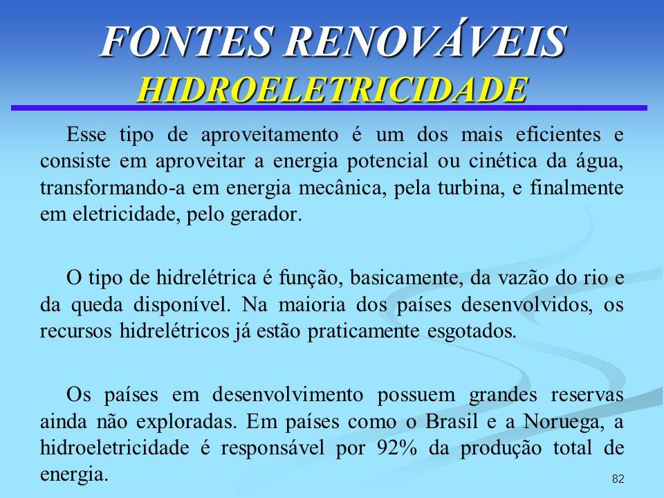 82 FONTES RENOVÁVEIS HIDROELETRICIDADE Esse tipo de aproveitamento é um dos mais eficientes e consiste em aproveitar a energia potencial ou cinética d